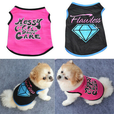 SELLING Summer Fashion Cute Cotton Small Dog Pet Vest Puppy Printed T Shirt ts