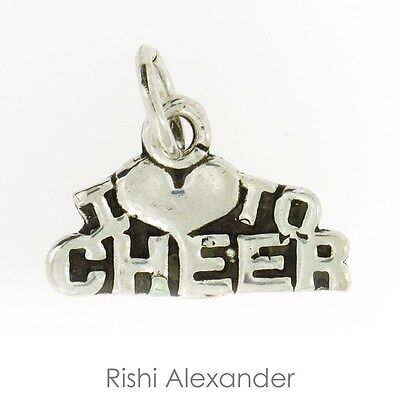 925 Sterling Silver I Heart Love Cheer Cheerleader Charm