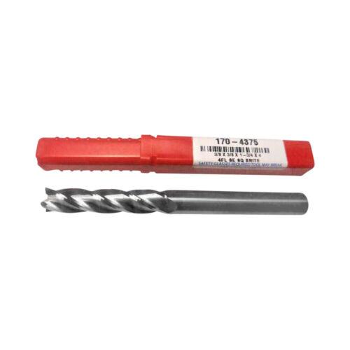 NEW-  3/8 dia  EXTRA LONG - 1.75 LOC - CARBIDE- 4 flute End mill - USA 170-4375