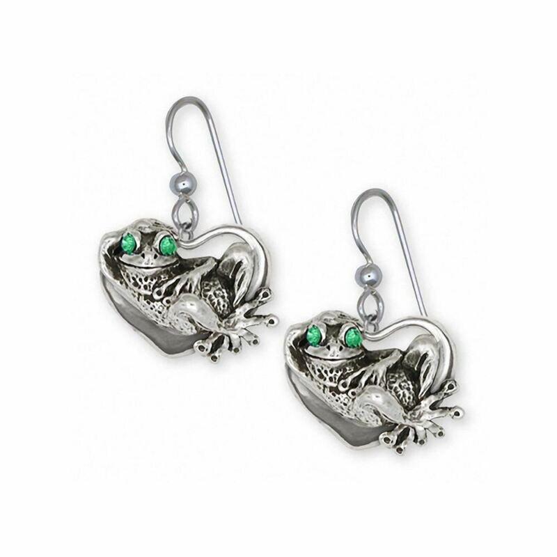 Frog Earrings Jewelry Sterling Silver Handmade Frog Earrings FG12-XE