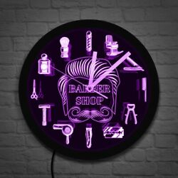 Barber Shop LED Business Sign Hairstylist Barber Tools LED Neon Wall Clock Watch