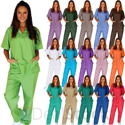 Medical Nursing Men Women Unisex Scrub Set Top Pants Hospita