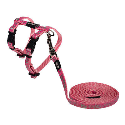 Rogz Kitten Harness and Leash SparkleCat - Xsmall Neck 6 - 9in Chest 8-12in Pink