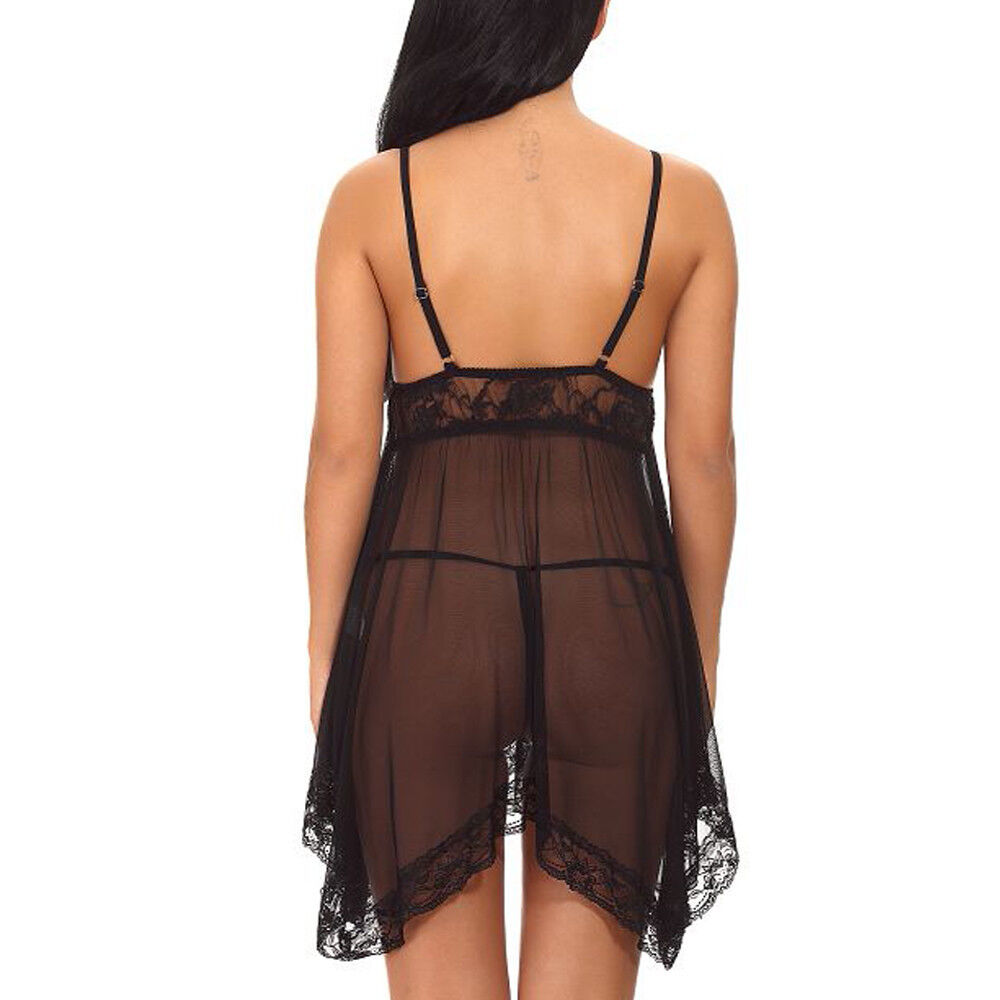 Sexy Lingerie Lace See Through Women Babydoll Sleepwear Nightgown Chemise Dress Clothing, Shoes & Accessories