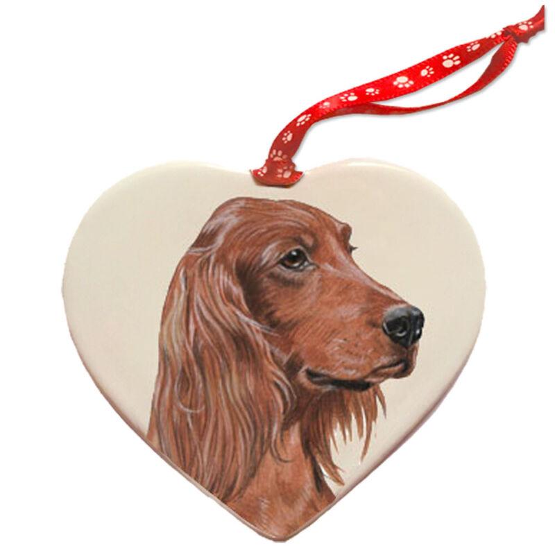 Irish Setter Porcelain Pet Gift Heart Ornament