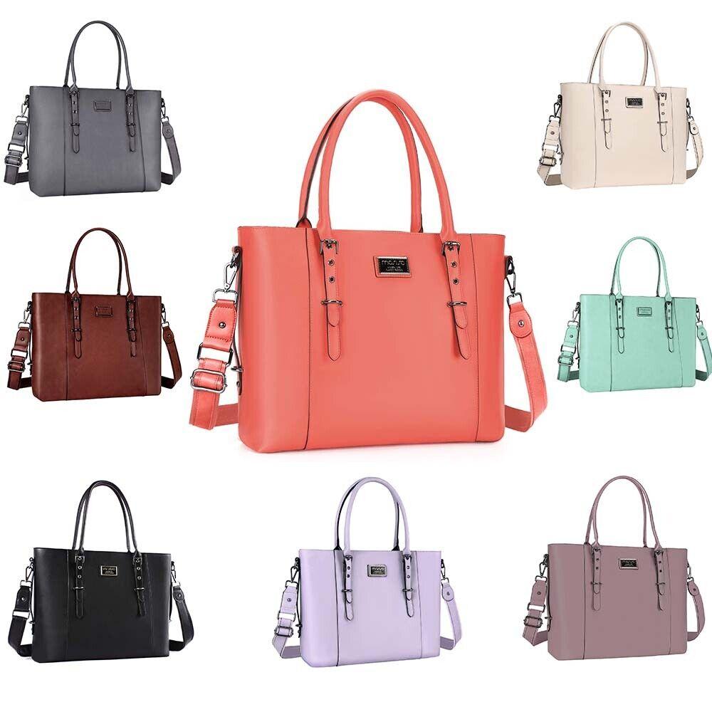 Mosiso Women PU Leather Zipper Tote Bag Laptop Messenger Sat