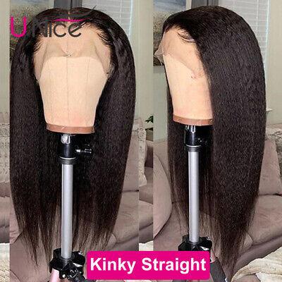 Peruvian Remy Human Hair Wigs Yaki Kinky Straight Lace Front Full Wig