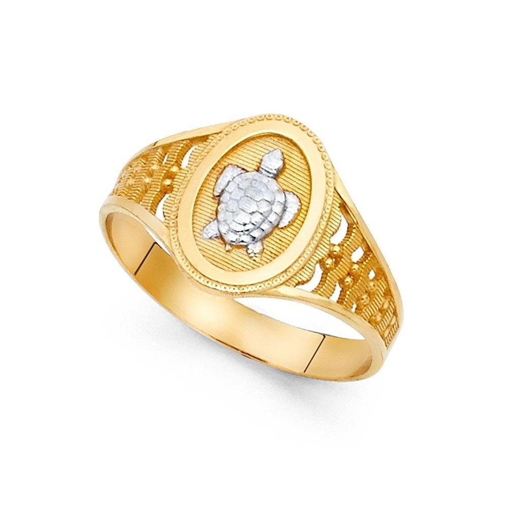 Solid 14k White Gold Turtle Ladies Ring