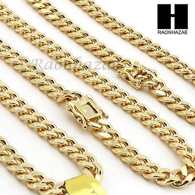 14k Gold Finish Heavy 6mm Miami Cuban Link Chain Necklace Bracelet Various Set C