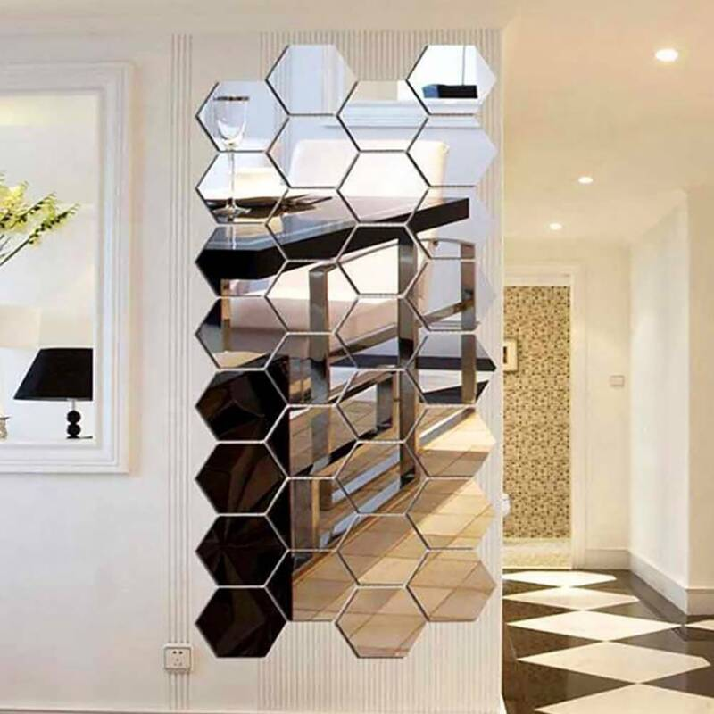 Home Decoration - 12Pcs Removable Mirror Hexagon Acrylic Wall Stickers Art DIY Home Decorations