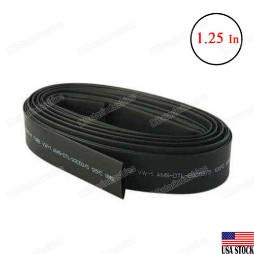 4 Feet Black Heat Shrink Tubing 1.25 inches 30mm 2:1 Ratio Sleeve Wire Wrap