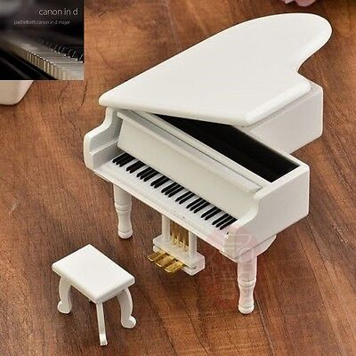 WOOD WHITE PIANO WIND UP MUSIC BOX : CANON IN D
