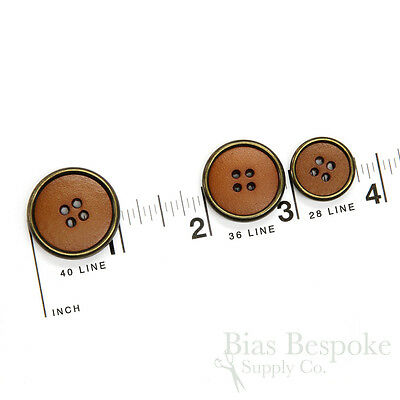 Caramel Colored Leather Suit and Coat Buttons with Metal Rims, Made in - Costumes With A Suit