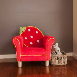 Kids Fleece Red Strawberry Sofa Couch Armchair NEW