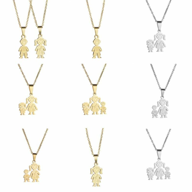 Stainless Steel Boy Girl Family Necklace Chain Mother Kids P