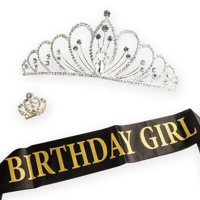 Birthday Girl Sash Tiara Crown and Crown Brooch Party Supplies Decorations 21st