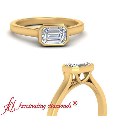 Solitaire 3/4 Carat Emerald Cut Diamond Cathedral Engagement Ring In Yellow Gold