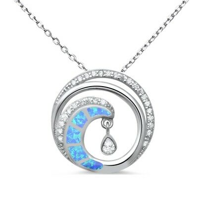 - Blue Opal Cubic Zirconia Wave Swirl Beach .925 Sterling Silver Pendant Necklace