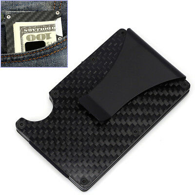 Metal Carbon Fiber Credit Card Holder Blocking Wallet