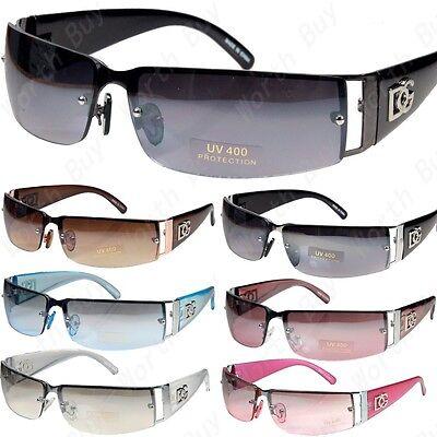 - WB Mens Women Rectangular Rimless Designer Sunglasses Shades Fashion Wrap Around