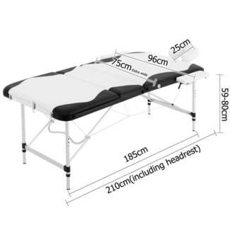 Portable Aluminium 3 Fold Massage Table Chair Bed Black White 75c