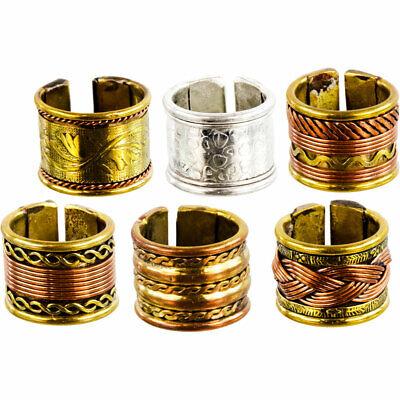 Set of 6 Copper & Brass Adjustable Wide Band Rings Celtic Braid Pattern Men's