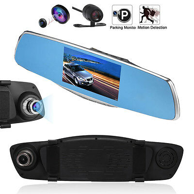 5  Hd 1080P Car Rearview Mirror Dvr Dual Lens Video Dash Cam Camera Night Vision