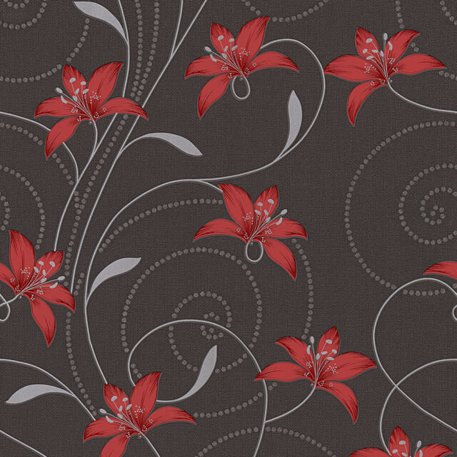 Photo Collection Black Red Silver Wallpaper