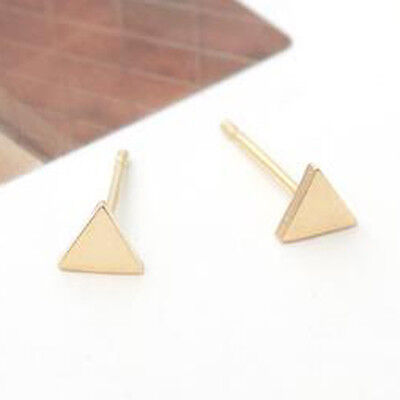 TPD Solid 14K Yellow Gold Triangle Stud a Pair of Earrings with Silicone plugs