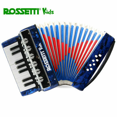 Rossetti Kidz 17 Key 8 Bass Buttons Blue Piano Accordion For Kids & Students