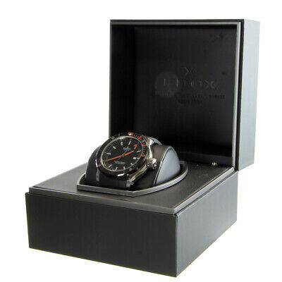 Edox Chronoffshore-1 80099 Black Dial Rubber Band Automatic Watch in Box
