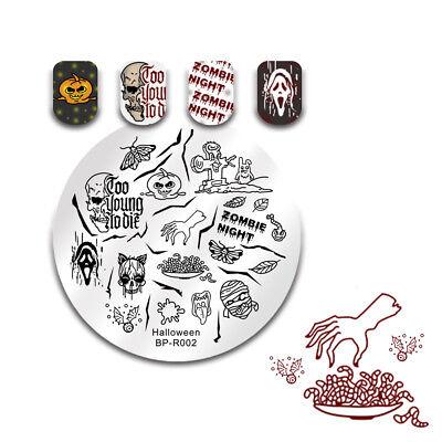 BORN PRETTY Round Halloween Nail Stamping Plates Skull Image Stencil Templates