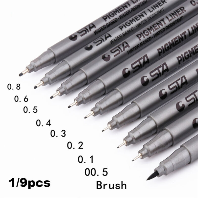 Size Painting Black Ink Art Marker Pen Fineliner Pigment Liner Water Based ~