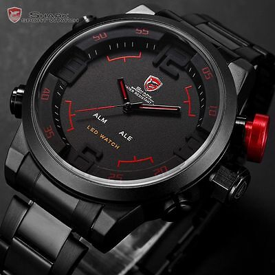 SHARK Mens LED Date Day Black Sport Military Quartz Wrist Watch + Gift Box