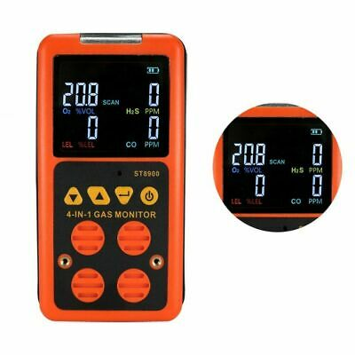 4in1 Lcd Gas Detector Co Monitor O2 H2s Analyzer Lel Oxygen Air Meter With Alarm