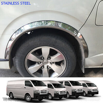 08   16 Stainless 4Dr Fender Flares Wheel Arch For Toyota Hiace Commuter Van D4d
