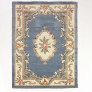 vente chinois aubusson bleu laine tapis en tailles vari es demi lune et circle ebay. Black Bedroom Furniture Sets. Home Design Ideas