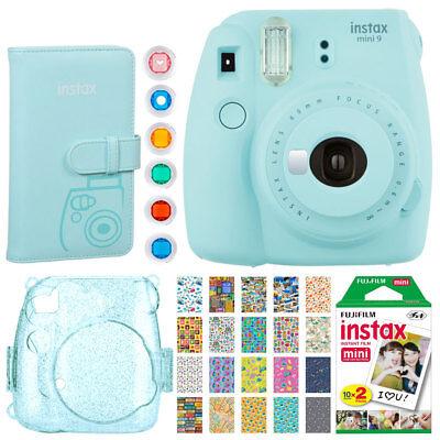 Fujifilm instax mini 9 Pressing Film Camera (Ice Blue) + Instax 20 + Album + Covering