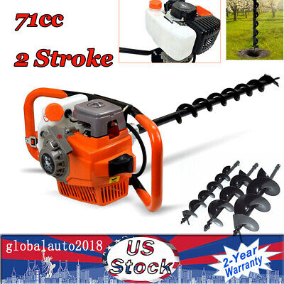71cc Gas Powered Earth Auger Post Hole Digger Fence Borer 3 Drill Bits 3.2kw Us
