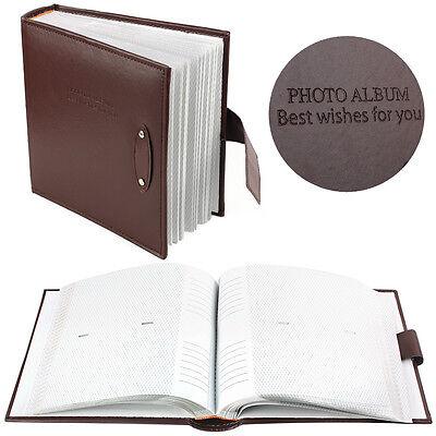 "New 6x4"" 200 Photos Large Leather Slip in Photo Album Brown Vintage Memo Book UK"