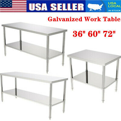 366072 Stainless Steel Galvanized Work Table Commercial Restaurant Table Us