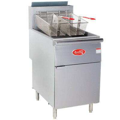 70 - 100 Lb. Commercial Restaurant Natural Gas Stainless Steel Floor Deep Fryer