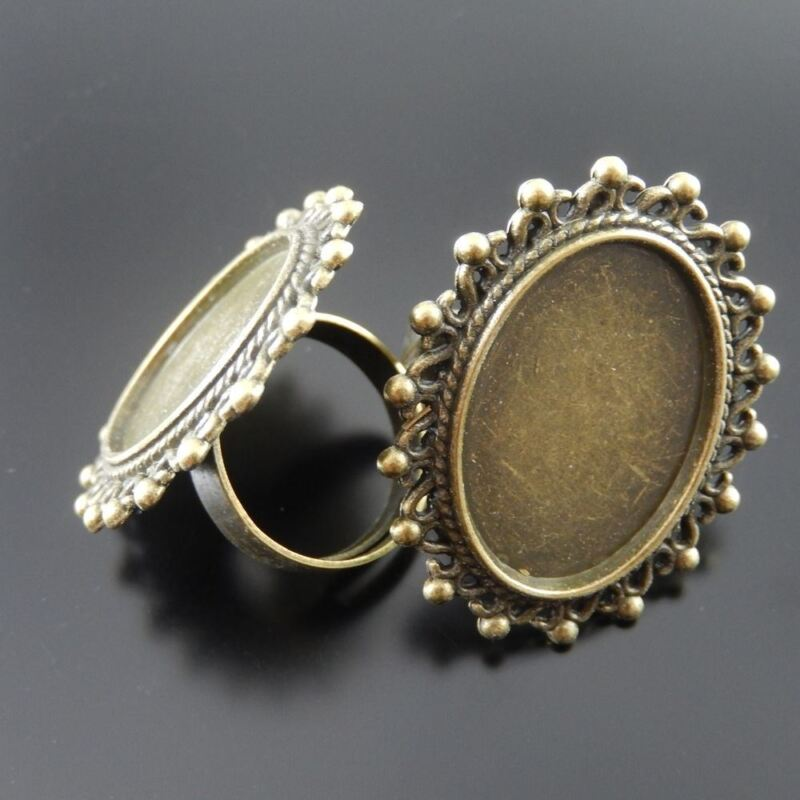 5 pcs Adjustable Retro Bronze Metal Ring Blank Lace Bezel Base Setting 25x18mm