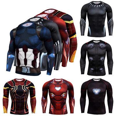 Mens Marvel Superhero Compression Long Sleeve Sports Jersey T-shirt Shirts Tops