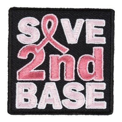Save 2nd Base Patch, Breast Cancer Ribbon Patches (Save 2nd Base)