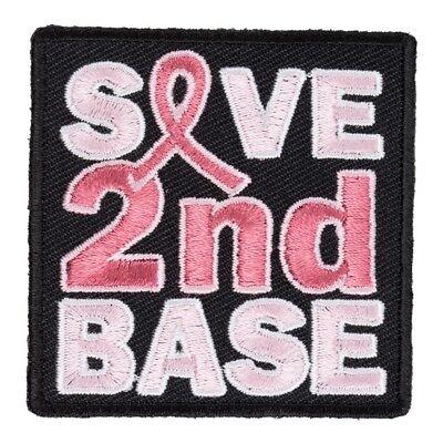 Save 2nd Base Patch, Breast Cancer Ribbon - Save 2nd Base