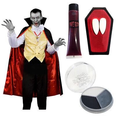 Halloween Face Paint Vampire For Men (ADULTS VAMPIRE HALLOWEEN MENS COSTUME SHIRT FANGS BLOOD FACE PAINT FANCY)