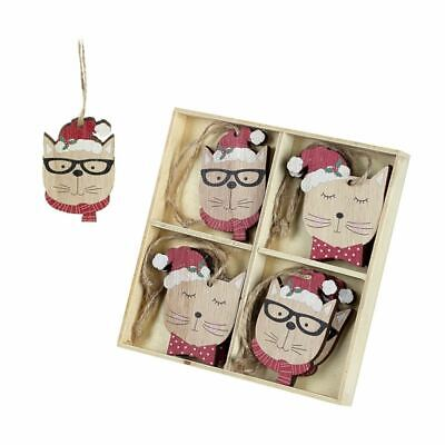 Christmas Wooden Baubles | Cat Hanging Festive Tree Decoration Boxed Novelty x 8