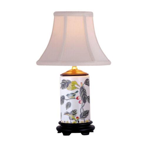 """Floral Bird Motif Cylindrical Porcelain Vase Table Lamp 15"""""""