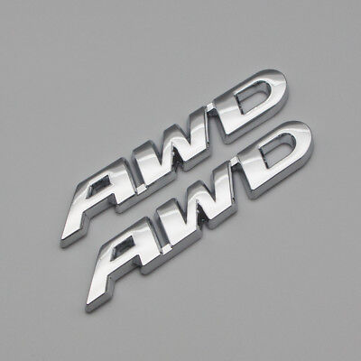 2x Silver Chrome Metal AWD Off Road Side Badge Rear Trunk All Wheel Drive Emblem